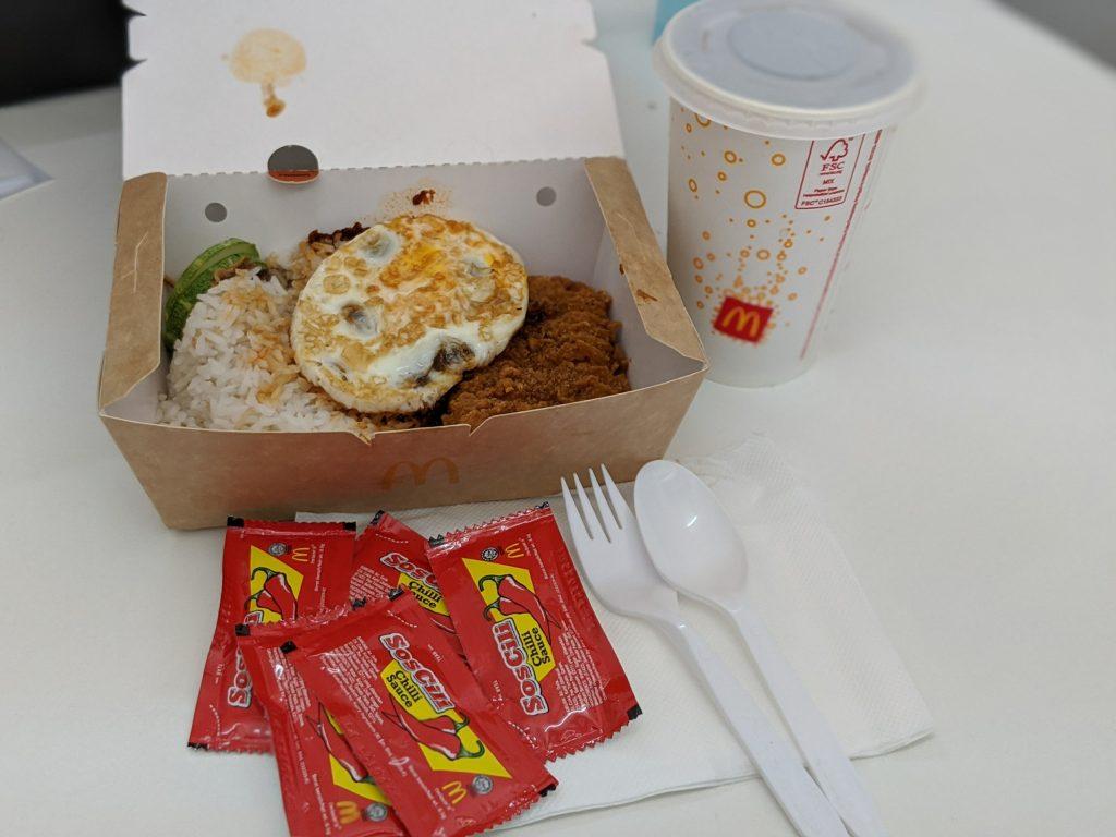 nasi lemak spicy chicken mcdeluxe