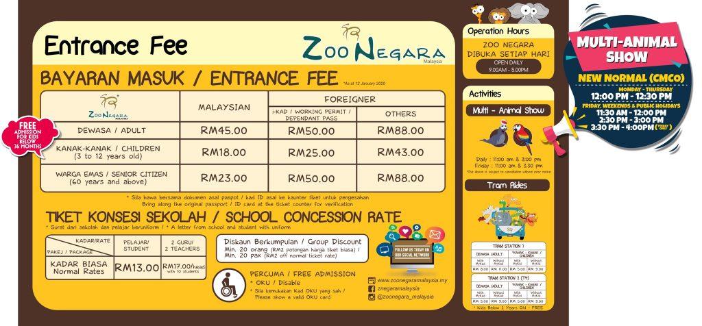 tiket masuk zoo negara